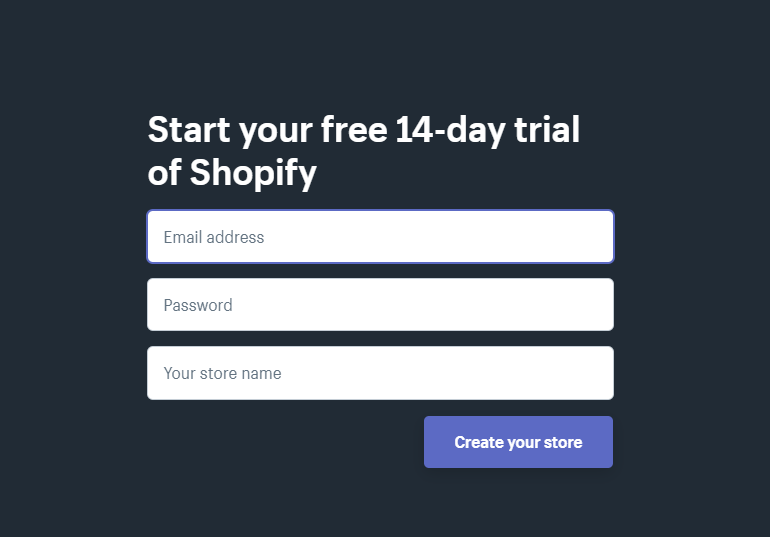 Get 14 day trial of Shopify for FREE