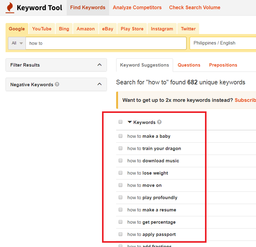 Using keyword tool to come up with ideas for blogging