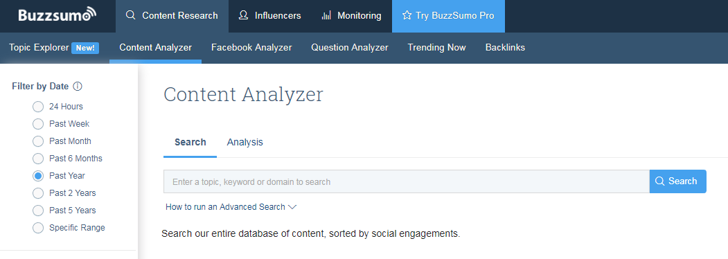 Buzz Sumo powerful keyword research tool online for FREE