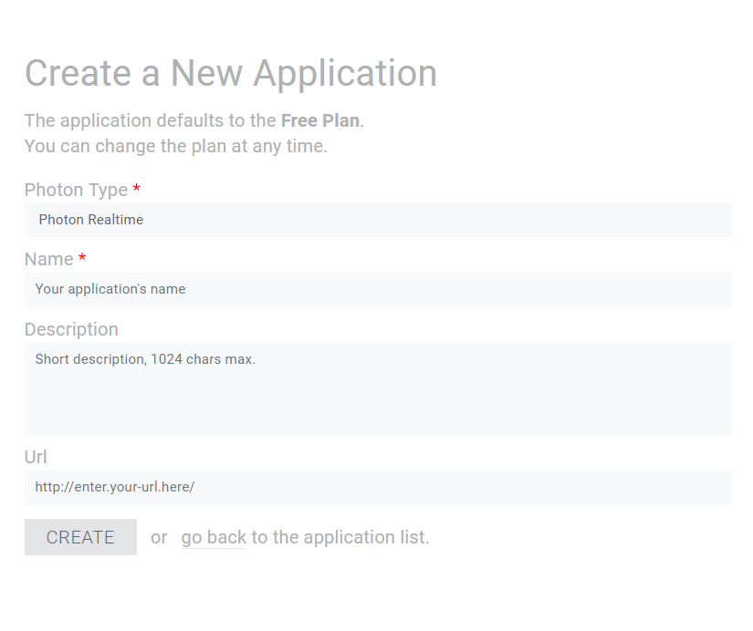Form for New App ID creation for Photon Unity Networking