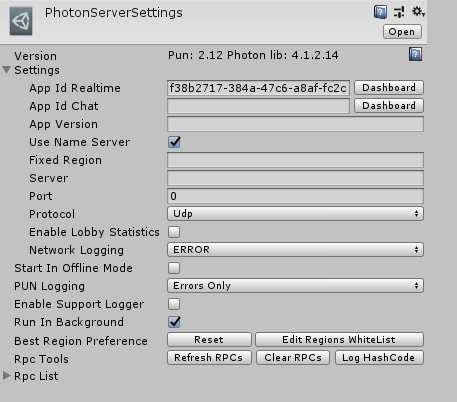 Example of Photon Server Settings of Photon Unity Networking