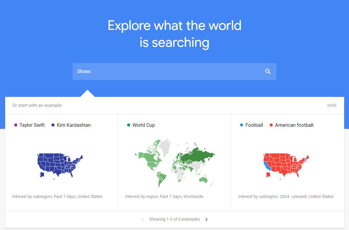 Google trends for you to find a good niche for dropshipping business