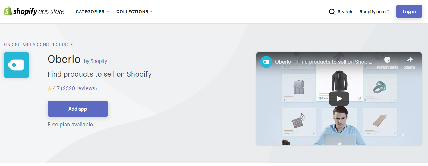 Image of Oberlo about to install to a Shopify Store for dropshipping business