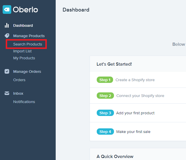 Adding products to shopify store using oberlo app