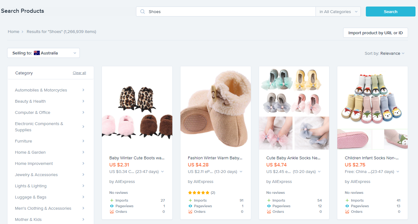 Oberlo search product for shopify ecommerce business