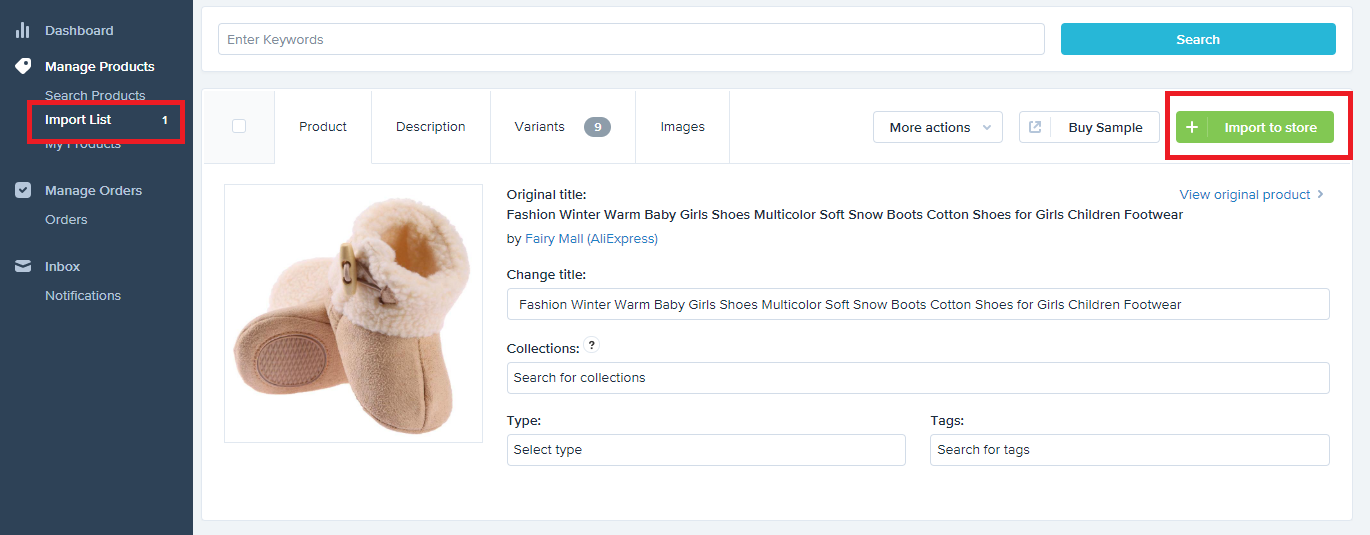 Importing products from Oberlo to Shopify Dropshipping business