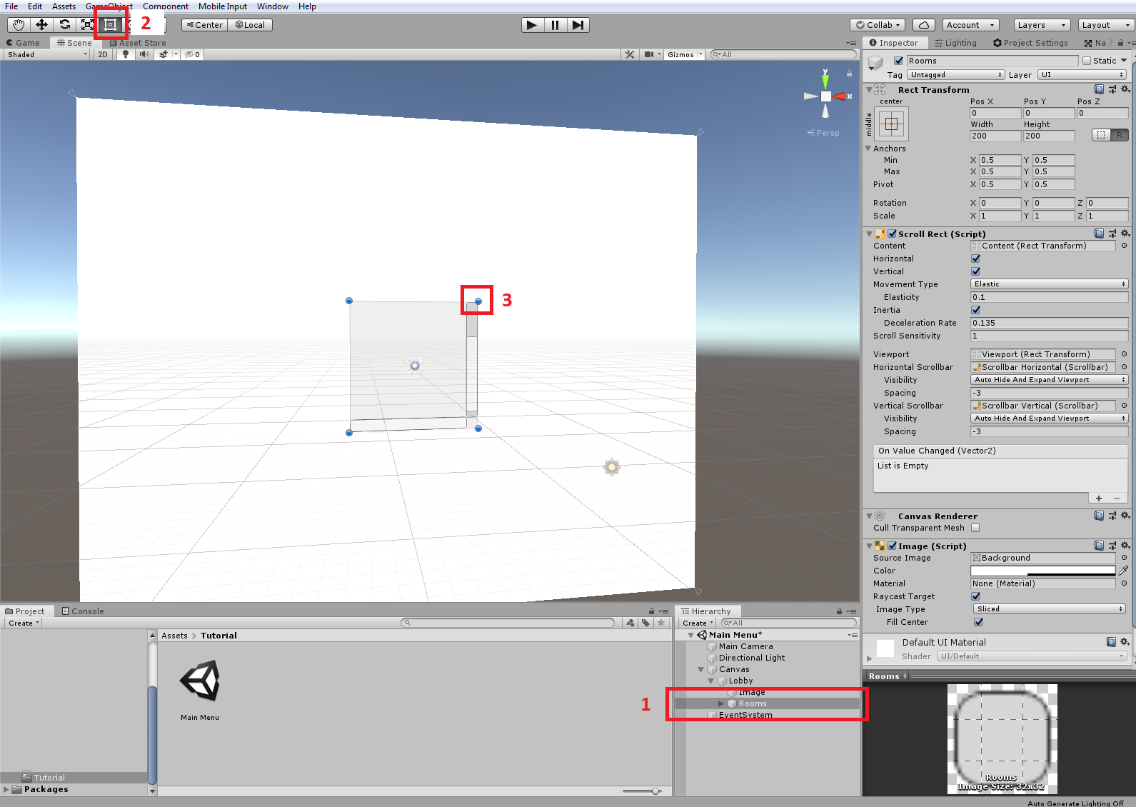Unity 2019 User Interface Scroll view