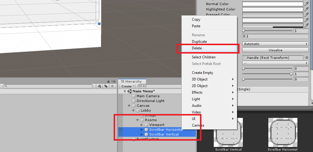 Deleting scroll bars of scroll view in Unity 2019