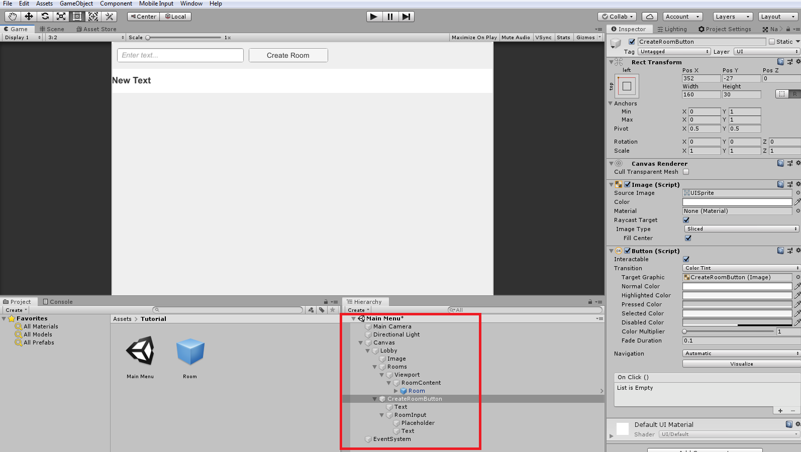 Creating input field and button for creating rooms for photon and unity