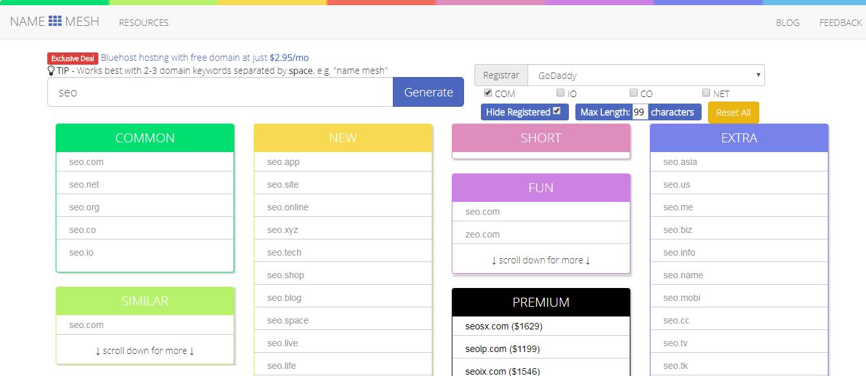 Domain Name generators for free online