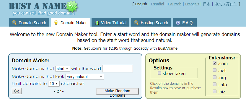 Bust a Name Domain Name generators for free online