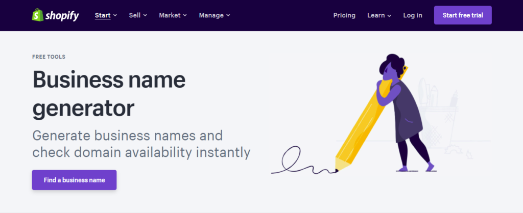 Shopify Business name generator for domain name check availability