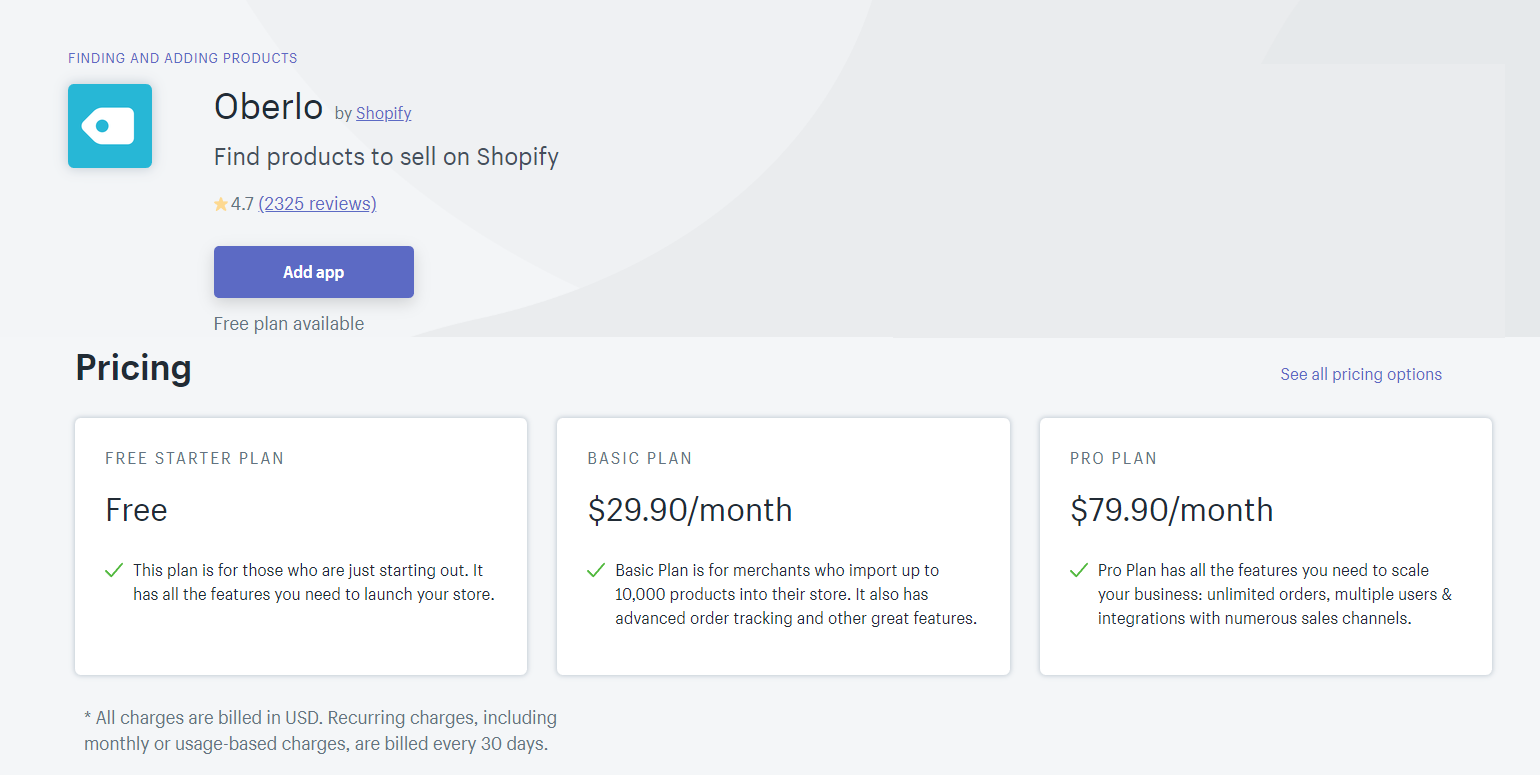 Find Shopify Products with Oberlo