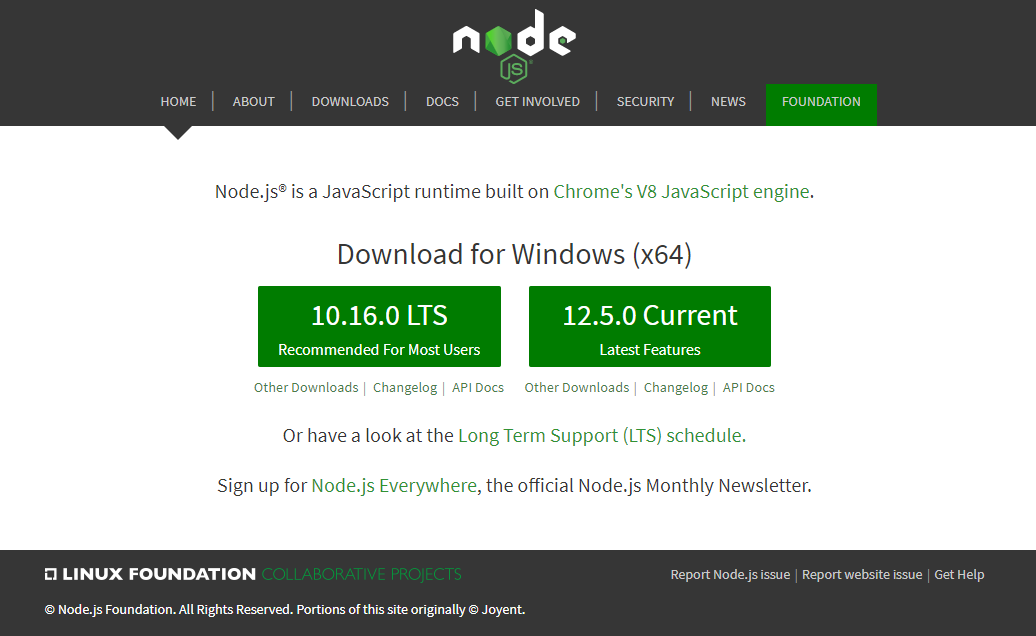 Nodejs.org official homepage for downloading installers