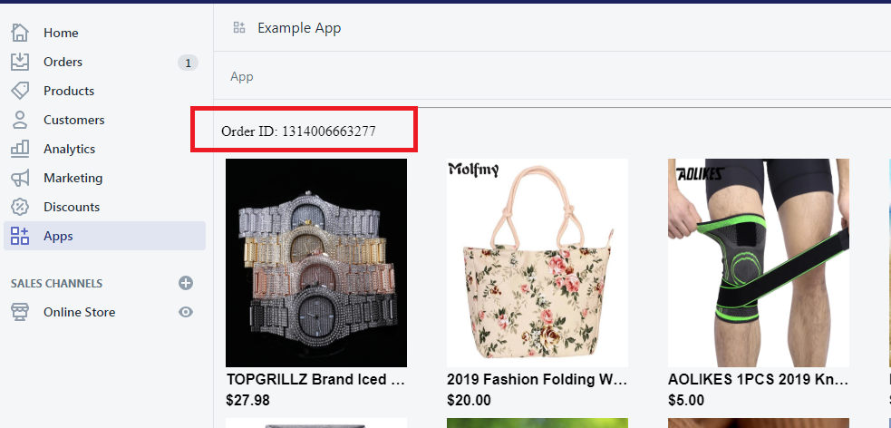 Displaying Order ID from Shopify Order API - Shopify App Development