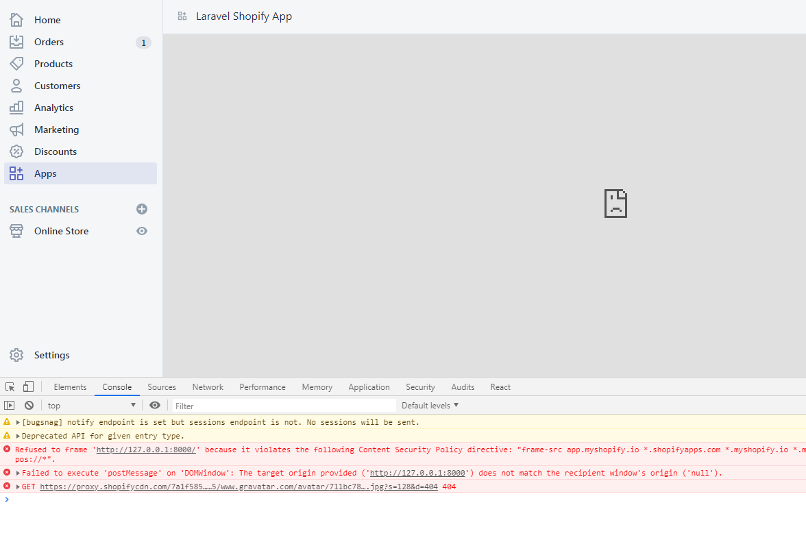 Laravel and Shopify Invalid Request (Unsupported SSL Request)