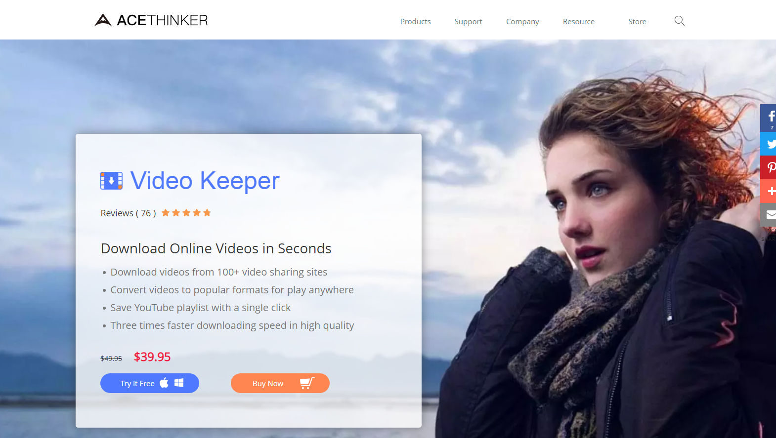 Download videos from 100+ video sharing sites using Video Keeper by Ace Thinker.