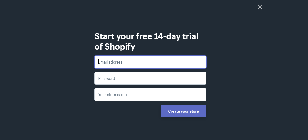 Start your free 14-day trial of Shopify