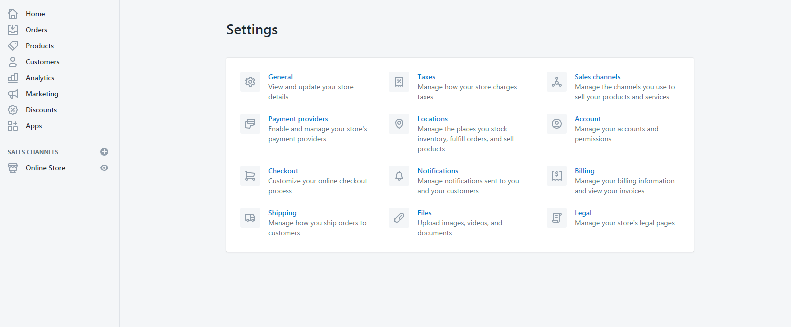 Shopify Partner Dashboard: Settings Page