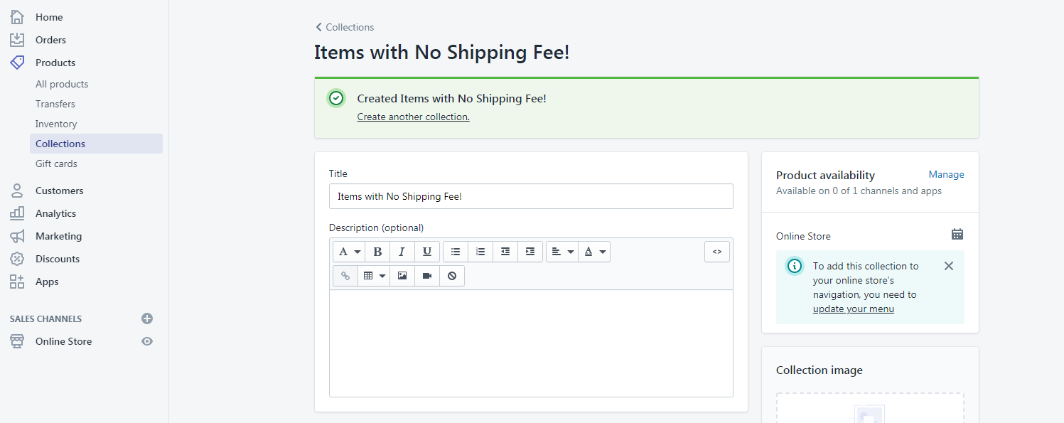 Shopify Collections for Items with No Shipping Fee