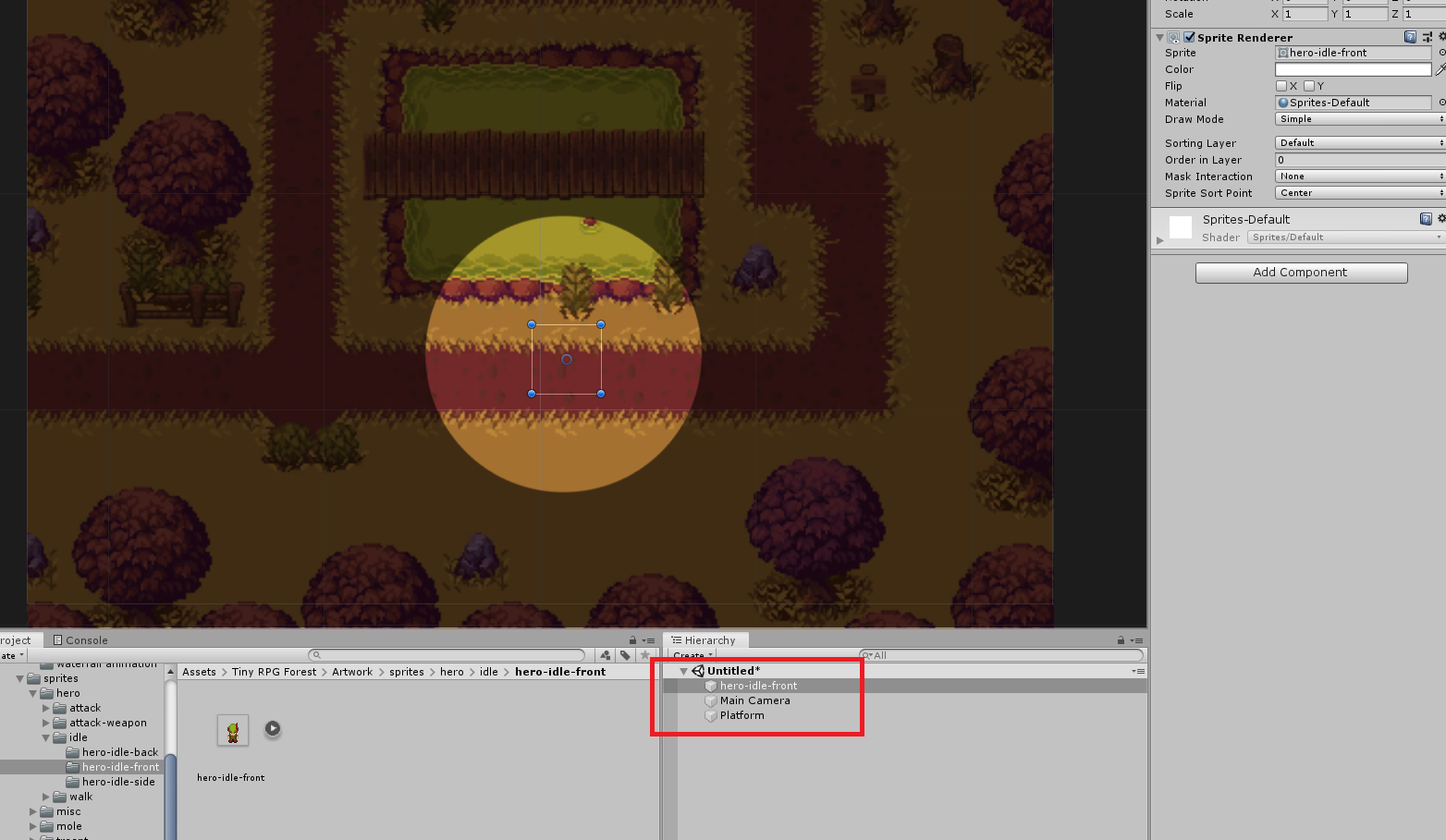 Unity 2D Sprite not showing up above the platform