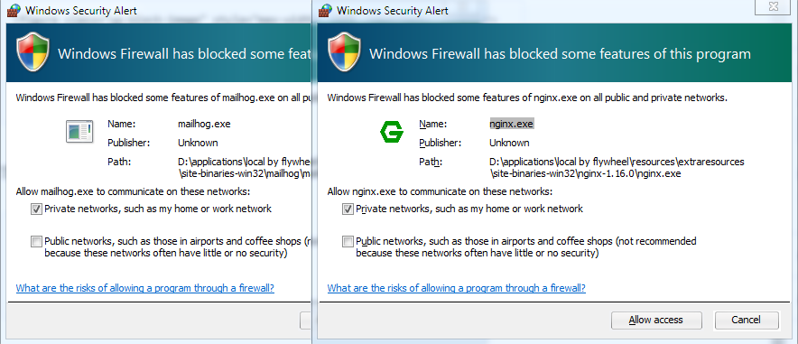 Local by FlyWheel windows security alerts