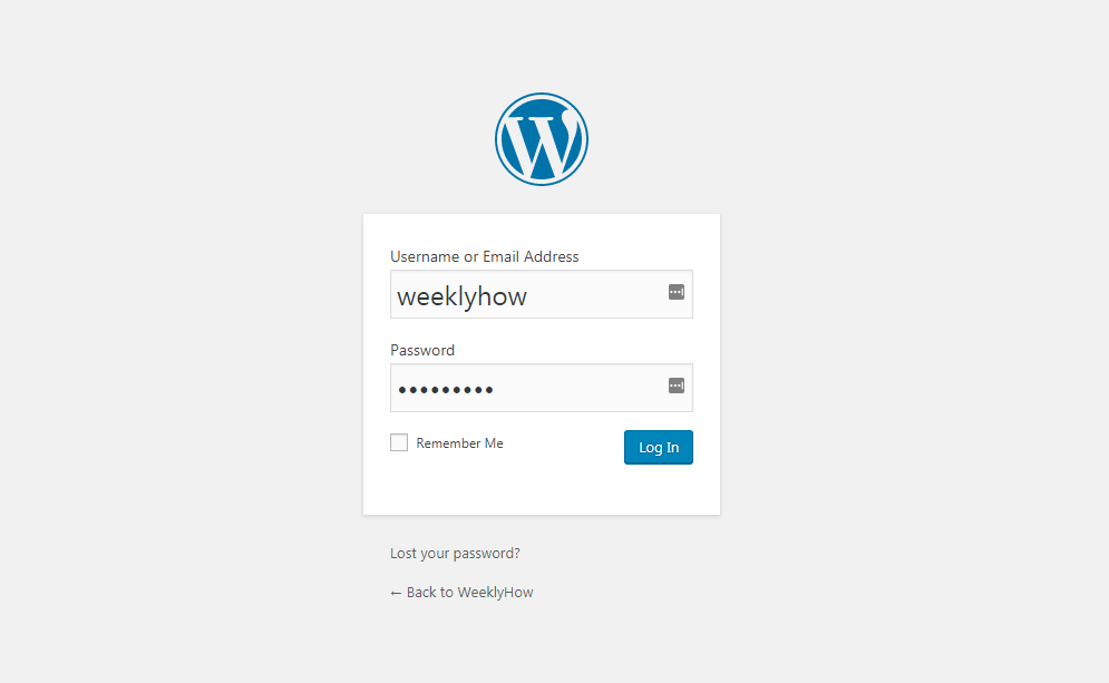 WordPress login page for accessing admin dashboard