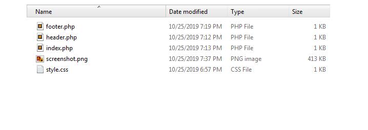 WordPress basic theme files