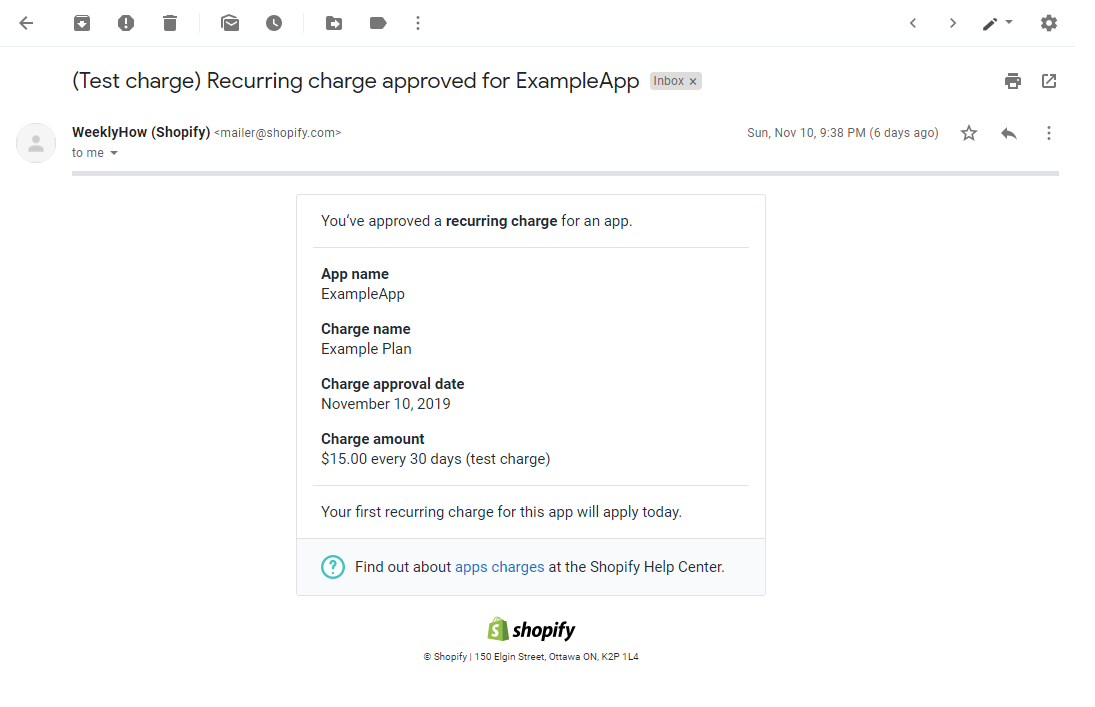 Test charge email for Shopify recurring charge API tutorial PHP