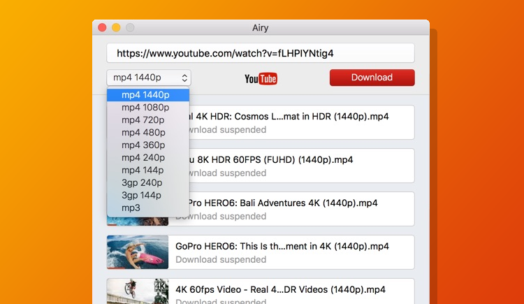 Airy YouTube Downloader user interface