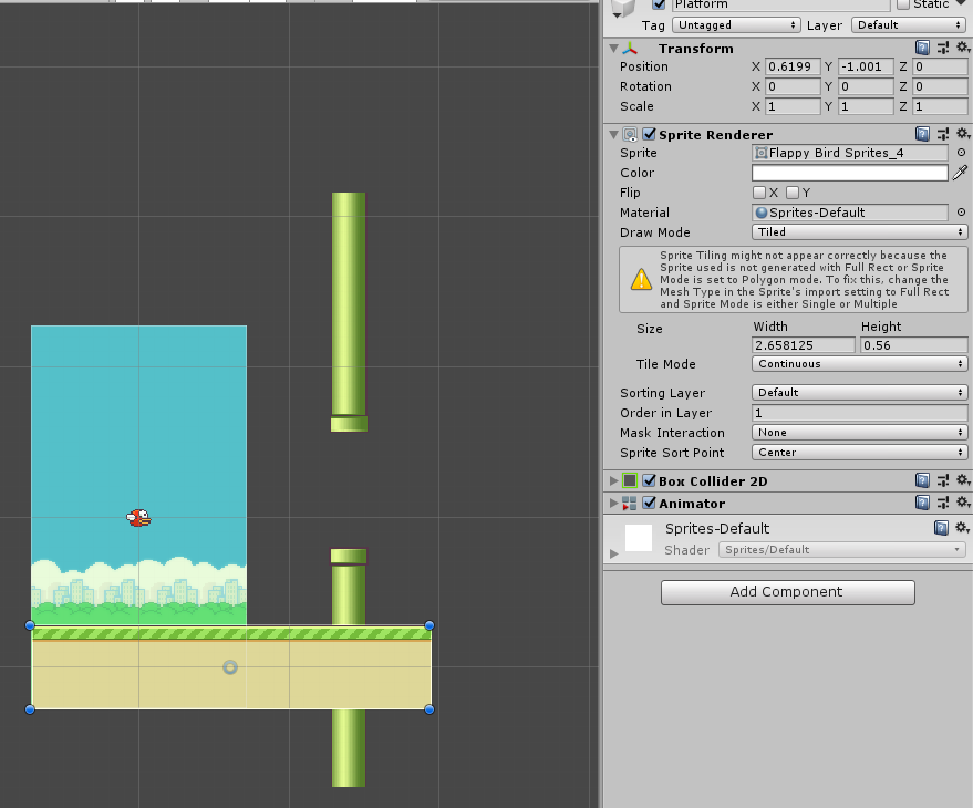 Platform of Flappy Bird in Unity