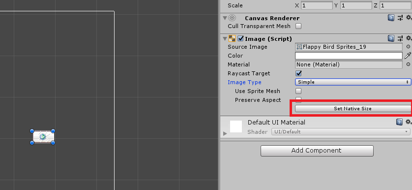 Resetting UI Image by default native size in Unity