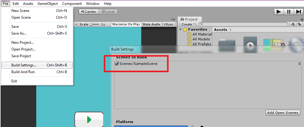 Unity Build Settings for Flappy Bird game