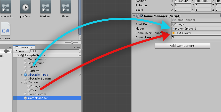 Assigning two game objects to a script in Unity