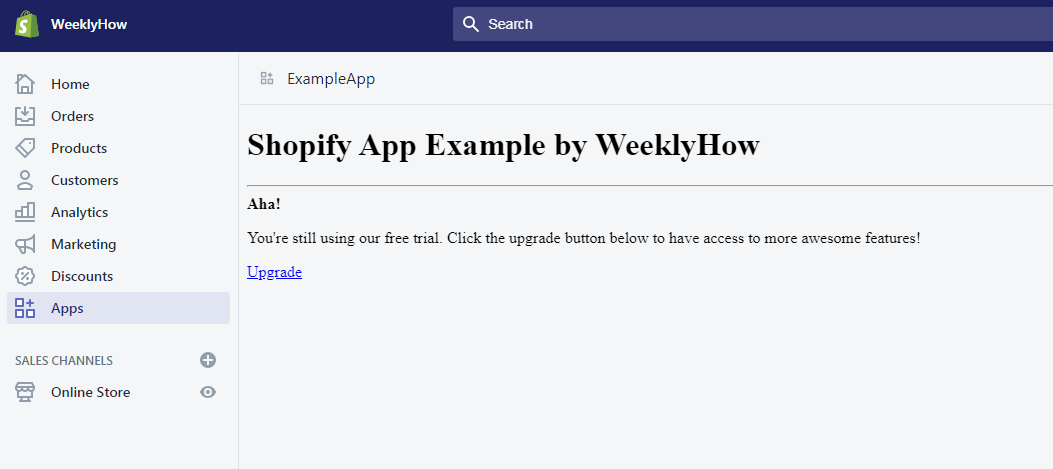 Shopify App example by weeklyhow