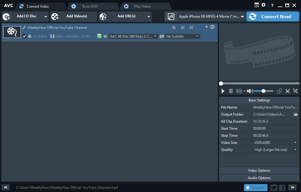 Main Window of Any Video Converter Free