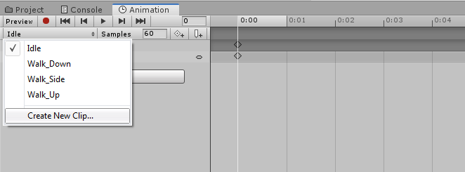 Creating New Animation Clip for Player Unity 3d