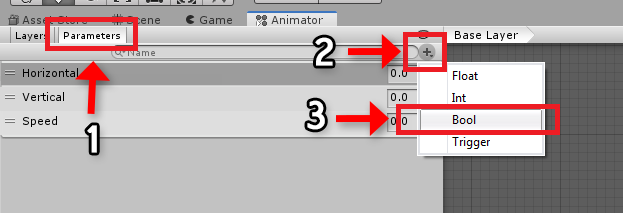 Creating a new bool animator parameter in Unity 2019