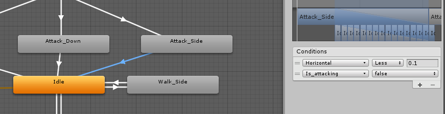 Attack Side to idle animation condition