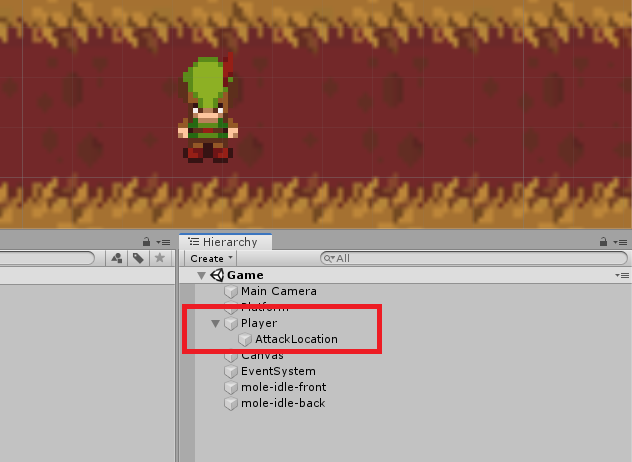 Creating an empty game object under the player