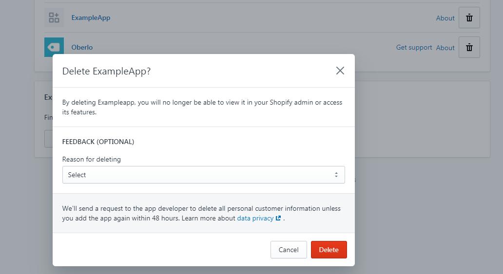 Deleting or Uninstalling Shopify app