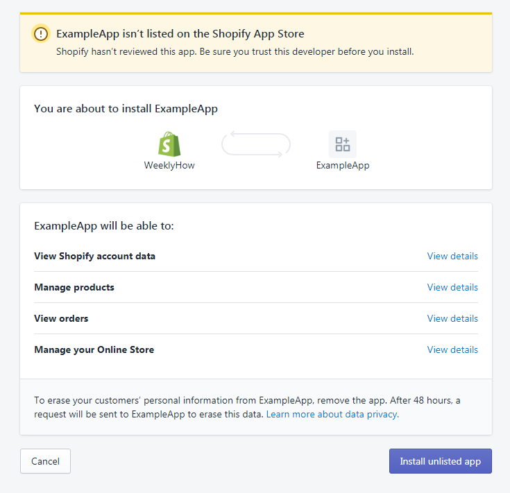 Installing unlisted private shopify app