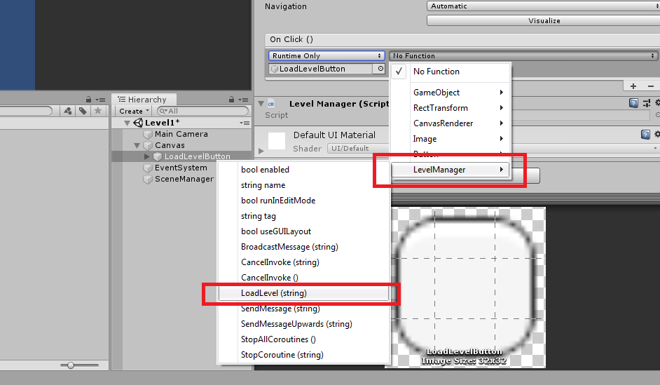 Level Manager in Unity on click button