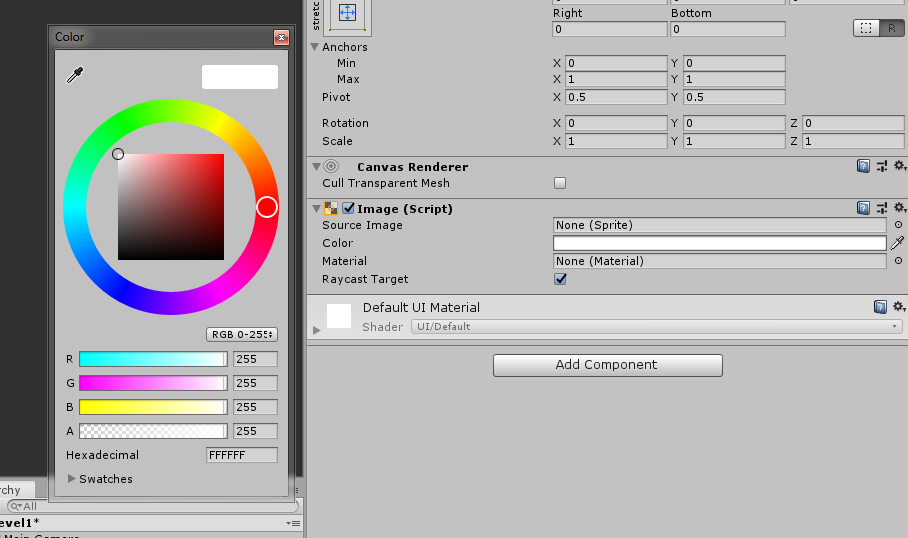 changing the color of the panel in unity 3d UI