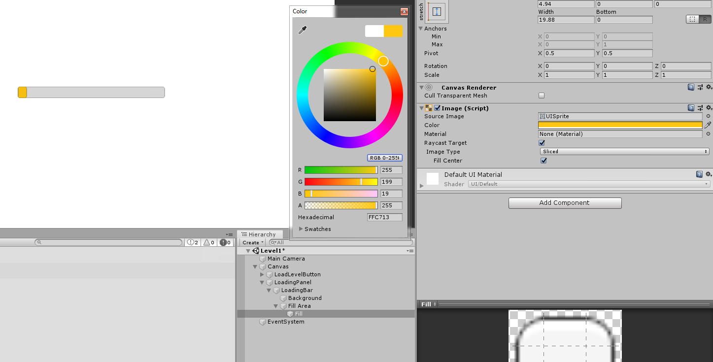 changing the color of the slider in unity 3d UI