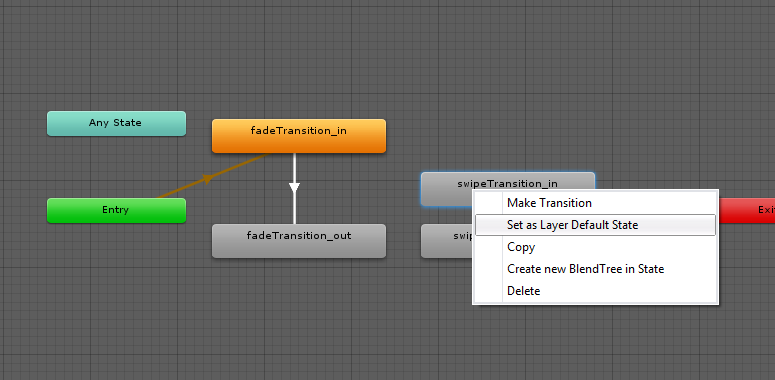 unity set as layer default state animator