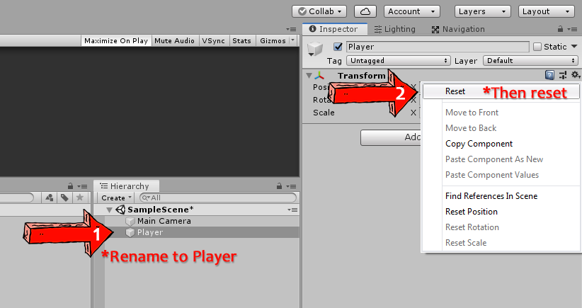 renaming a game object and resetting the transform position with unity 3d