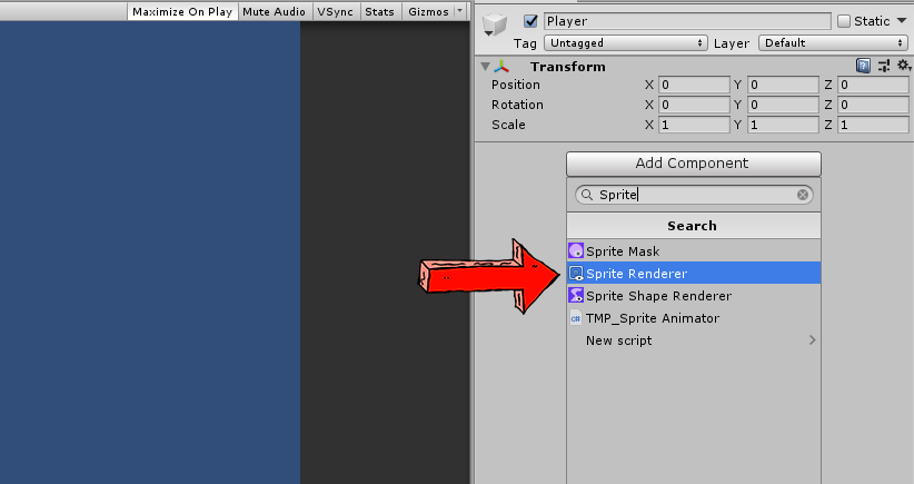 adding a sprite renderer with unity 3d