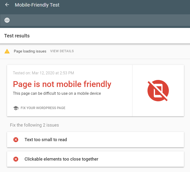 Google Search Console Mobile Friendly Test Page is not mobile friendly