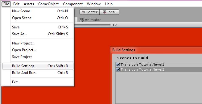 unity 3d build settings shortcut keys menu